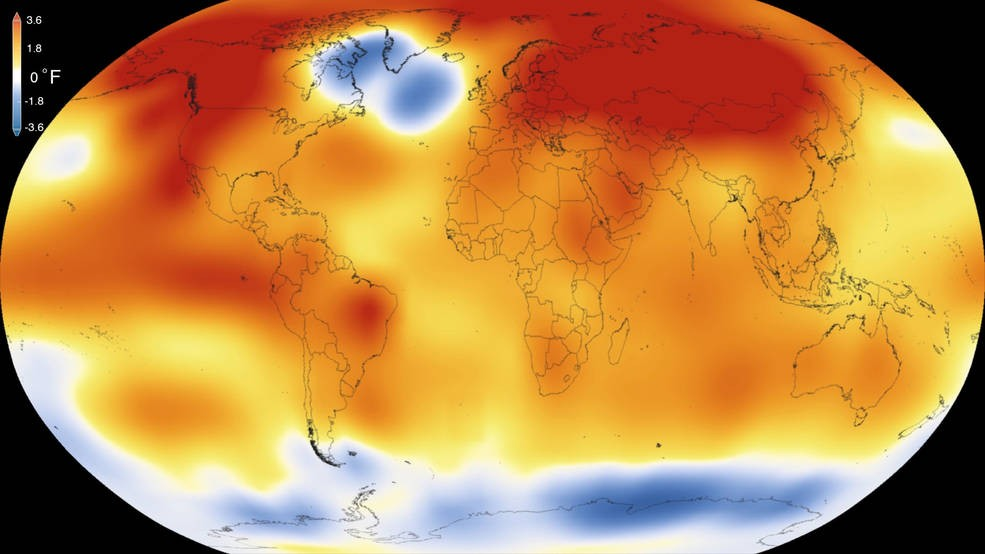 GISS analysis of global temperature in 2015, credits to NASA